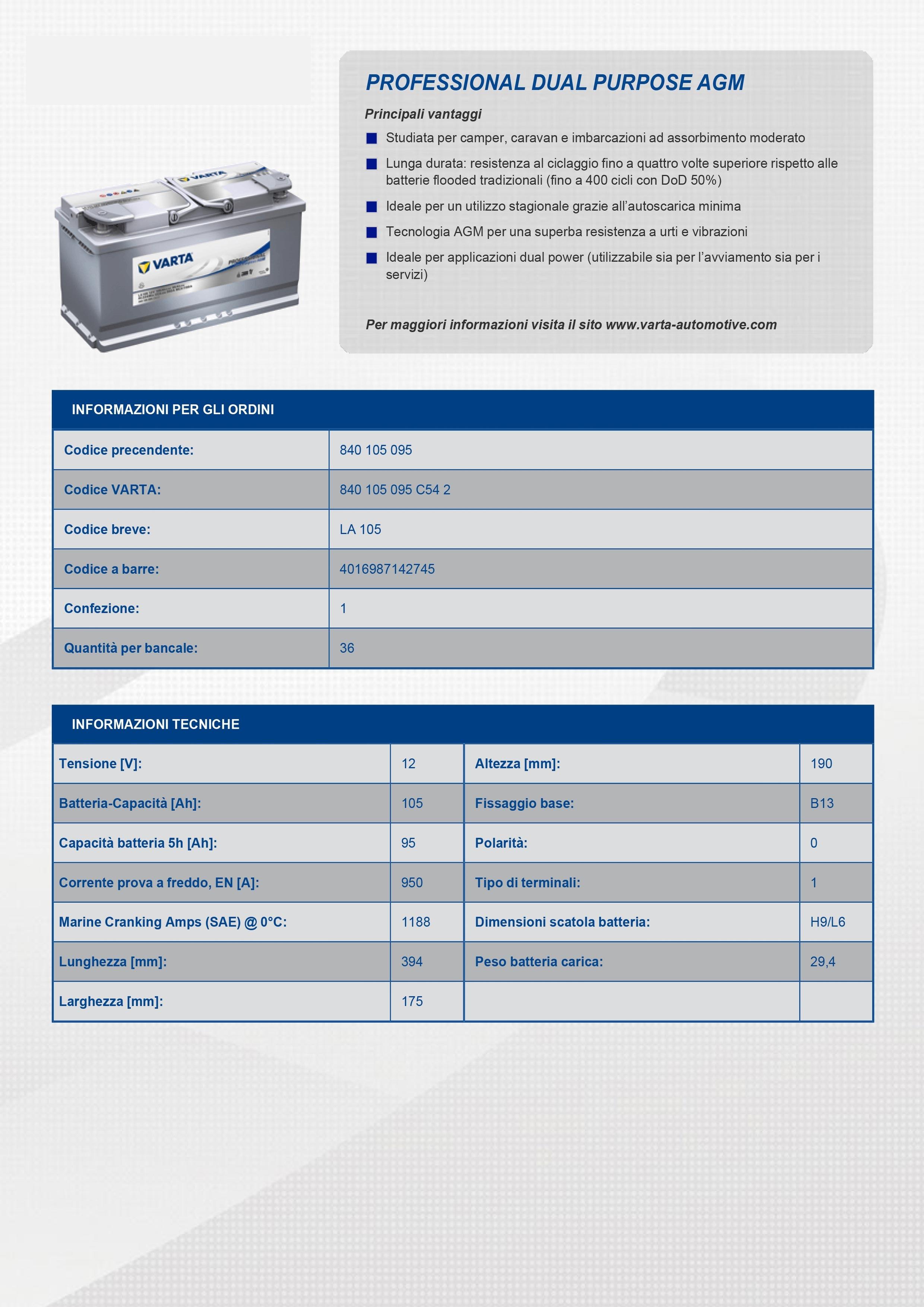 Batteria auto varta professional dual purpose agm 95ah for Smc ricambi auto