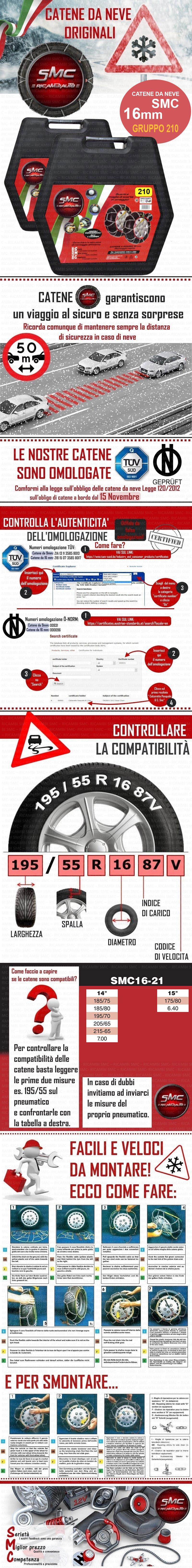 Catene da neve omologate smc 16mm 185 75 r 14 norm 5117 for Smc ricambi auto
