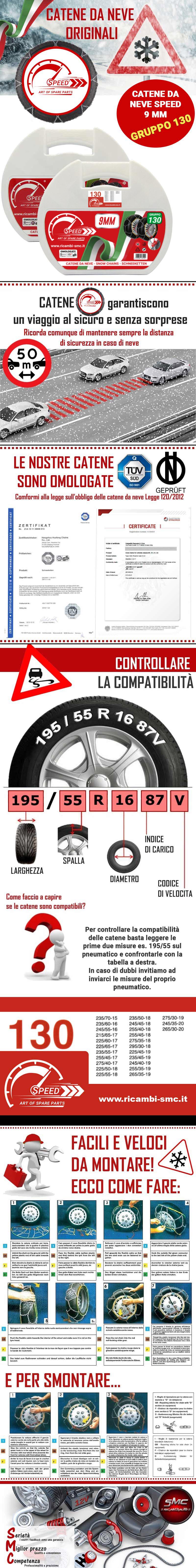 CATENE DA NEVE PER AUTO OMOLOGATE 9 MM MISURA PNEUMATICO 275//40 R19