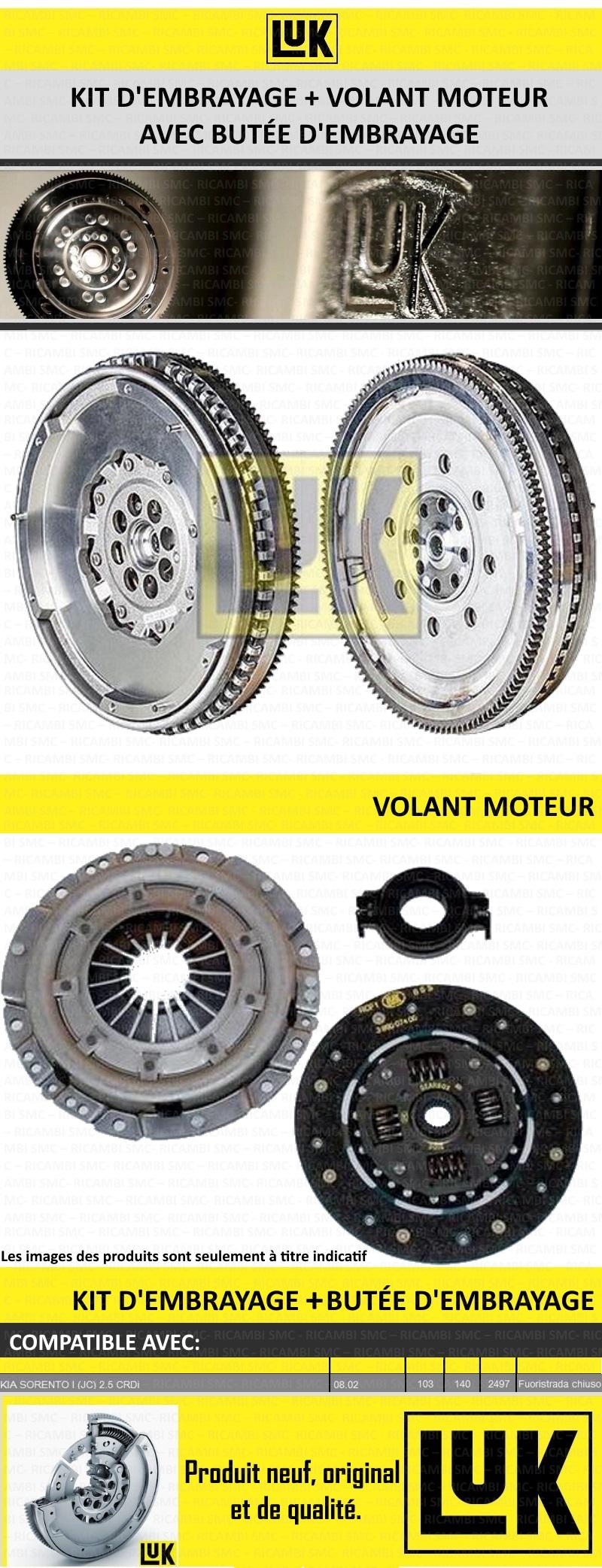 Kit embrayage volant moteur luk kia sorento i jc 2 5 for Smc ricambi auto