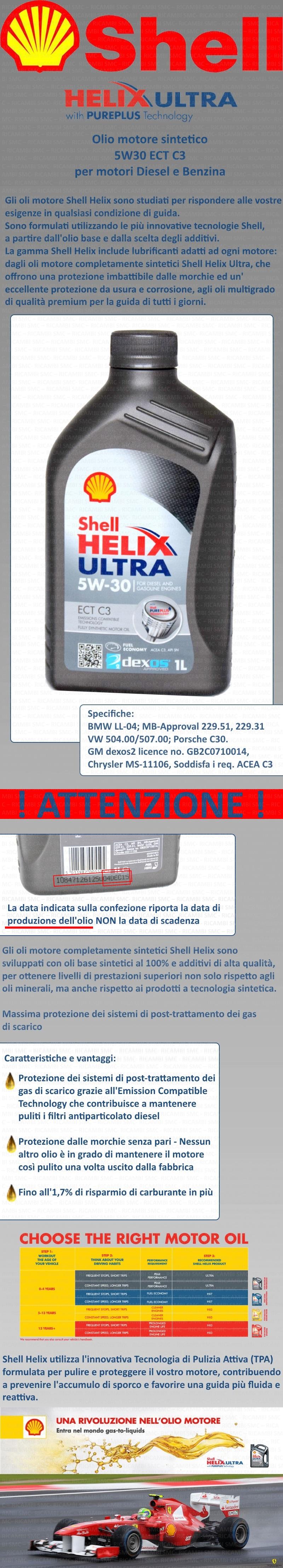 Olio motore shell helix ultra ect 5w30 5 litri ebay for Smc ricambi auto