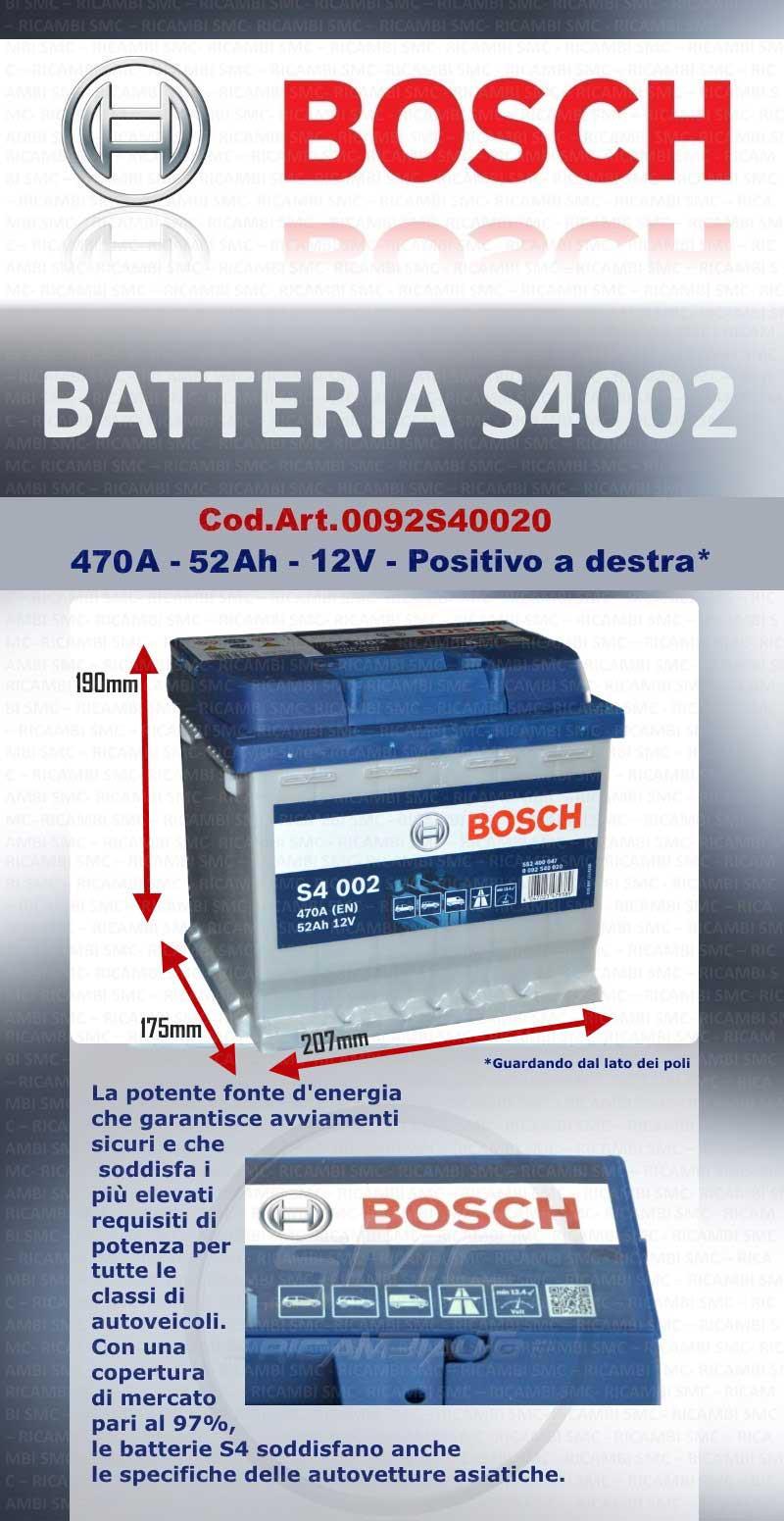 Batteria avviamento bosch 0092s40020 52ah 470a ricambi for Smc ricambi auto