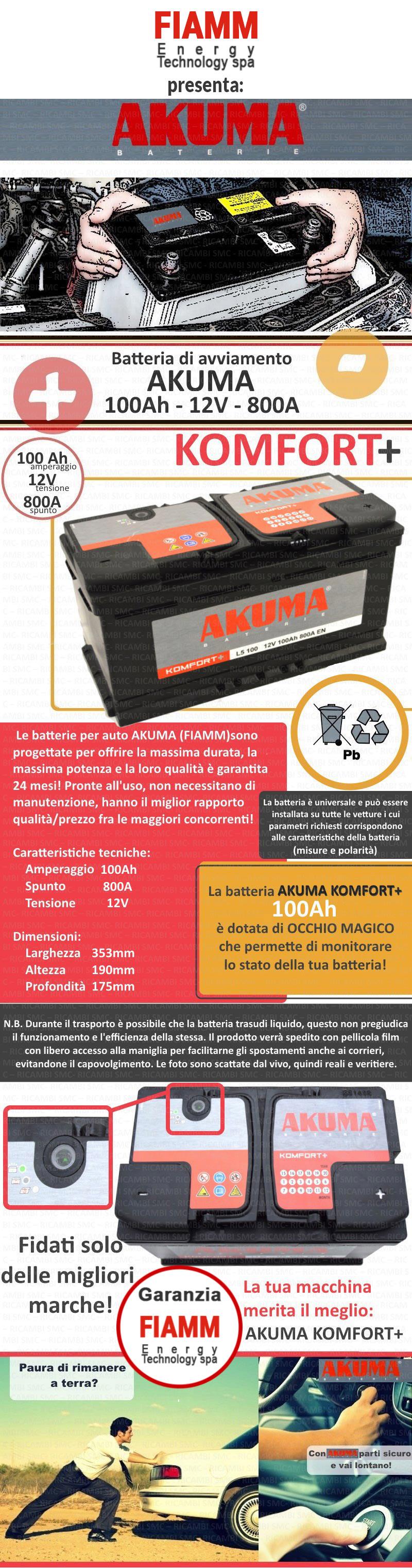 Batteria auto akuma 7903525 100ah 800a ricambi auto smc for Smc ricambi auto