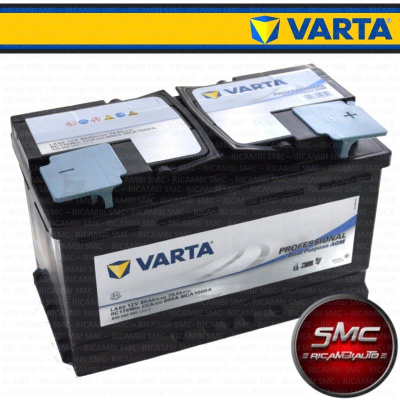 Batteria auto varta 840080080 80ah 800a ricambi auto smc for Smc ricambi auto