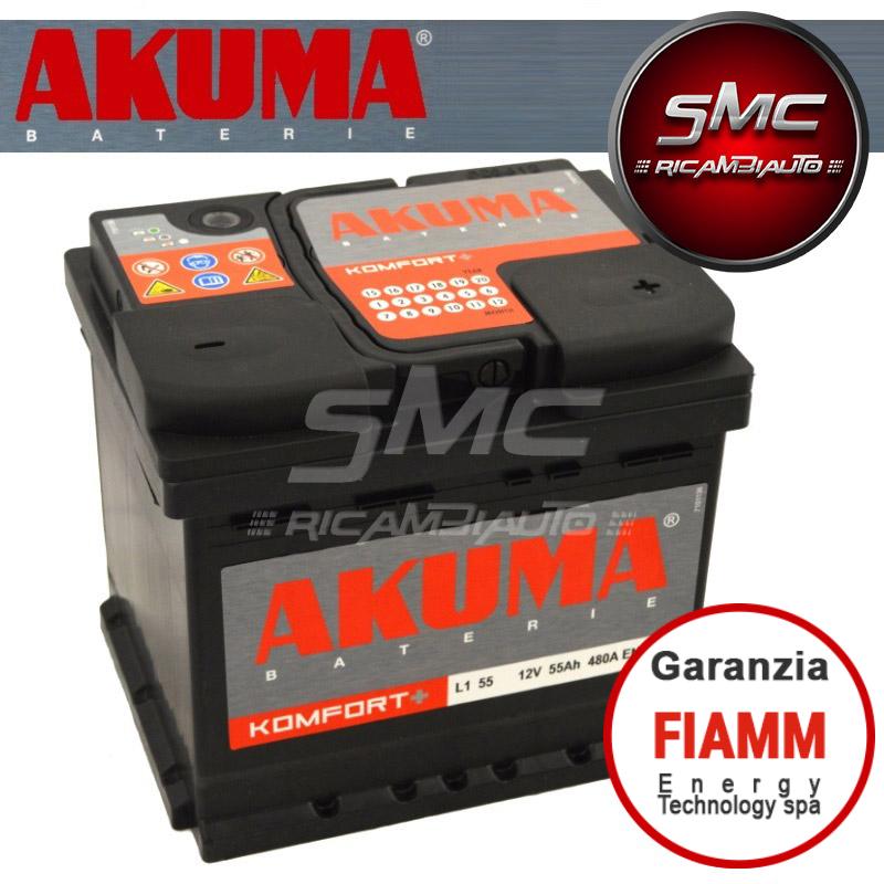 Batteria auto akuma 7903520 55ah 480a ricambi auto smc for Smc ricambi auto
