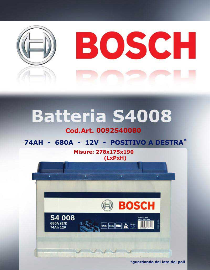 Batteria avviamento bosch 0092s40080 74ah 680a ricambi for Smc ricambi auto