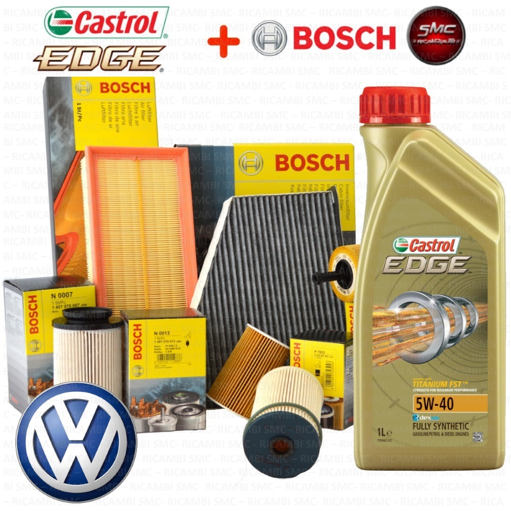 inspektionskit l castrol edge 5w40 filterset bosch vw. Black Bedroom Furniture Sets. Home Design Ideas
