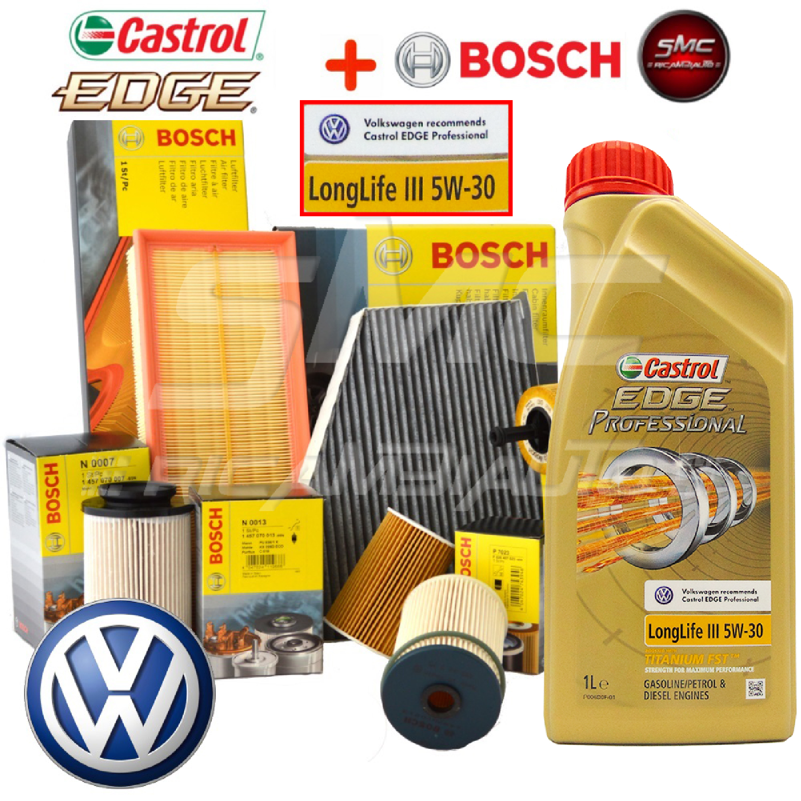 inspektionskit filterset bosch l castrol ll03 vw golf 7. Black Bedroom Furniture Sets. Home Design Ideas