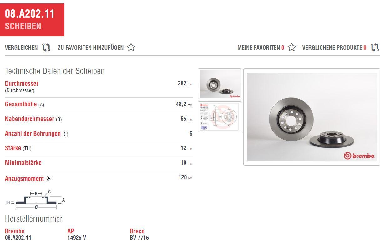 brembo bremsscheiben voll 282 bremsbel ge hinten vw. Black Bedroom Furniture Sets. Home Design Ideas