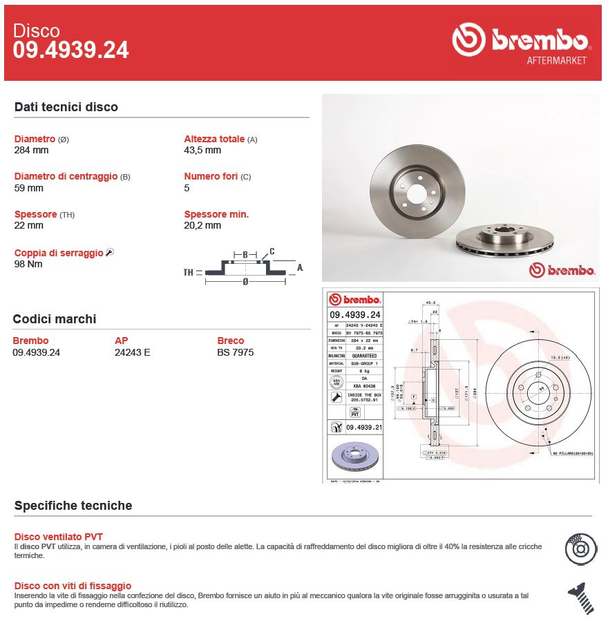 DISCO FRENO BREMBO 090493924 #2