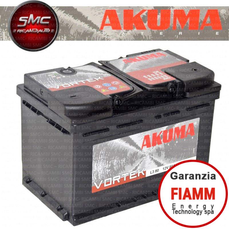 Batteria auto akuma 7903524 80ah 680a ricambi auto smc for Smc ricambi auto